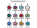 TierraCast Bright Rhodium Plated Pewter 6745 series Birthstone Charms, Set of 12, with Blue Zircon