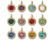 TierraCast Bright Gold Plated Pewter 6750 series Birthstone Charms, Set of 12, with Blue Zircon
