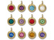 TierraCast Bright Gold Plated Pewter 6750 series Birthstone Charms, Set of 12, with Tanzanite