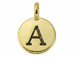 TierraCast Pewter Alphabet Charm Antique Gold Plated -  Alpha