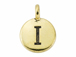TierraCast Pewter Alphabet Charm Antique Gold Plated -  Iota