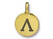 TierraCast Pewter Alphabet Charm Antique Gold Plated -  Lambda