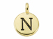 TierraCast Pewter Alphabet Charm Antique Gold Plated -  Nu