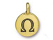 TierraCast Pewter Alphabet Charm Antique Gold Plated -  Omega
