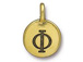 TierraCast Pewter Alphabet Charm Antique Gold Plated -  Phi