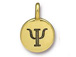 TierraCast Pewter Alphabet Charm Antique Gold Plated -  Psi