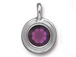 Amethyst - TierraCast Bright Rhodium Plated Pewter Stepped Bezel Charm with Swarovski Stone, February Birthstone