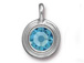 Aqua - TierraCast Bright Rhodium Plated Pewter Stepped Bezel Charm with Swarovski Stone, March Birthstone