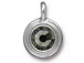 Black Diamond - TierraCast Bright Rhodium Plated Pewter Stepped Bezel Charm with Swarovski Stone