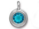 Blue Zircon - TierraCast Bright Rhodium Plated Pewter Stepped Bezel Charm with Swarovski Stone