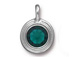 Emerald - TierraCast Bright Rhodium Plated Pewter Stepped Bezel Charm with Swarovski Stone, May Birthstone