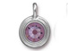 Light Amethyst - TierraCast Bright Rhodium Plated Pewter Stepped Bezel Charm with Swarovski Stone, June Birthstone