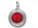 Light Siam - TierraCast Bright Rhodium Plated Pewter Stepped Bezel Charm with Swarovski Stone, July Birthstone