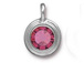 Rose - TierraCast Bright Rhodium Plated Pewter Stepped Bezel Charm with Swarovski Stone, October Birthstone