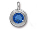 Sapphire - TierraCast Bright Rhodium Plated Pewter Stepped Bezel Charm with Swarovski Stone, September Birthstone