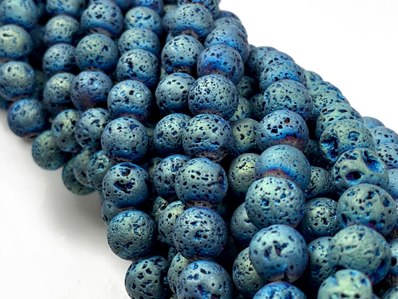 8mm Round Matte Peacock Blue Lava Rock Gemstone Bead Strand