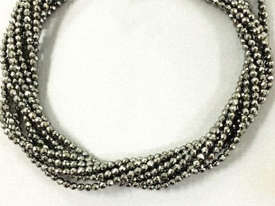Hematite 4mm Faceted Round Beads Strand