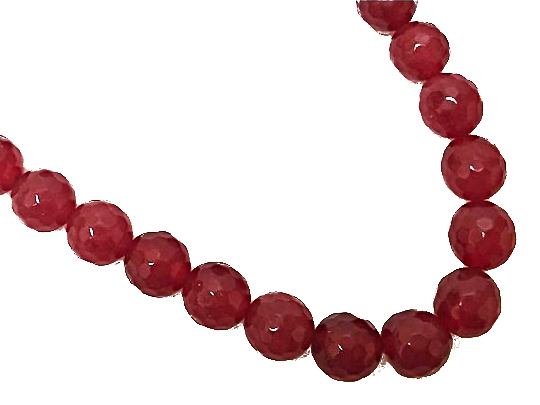 10mm Red Jade Faceted Round Gemstone Neon Tropic Beads