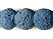 10mm Round Matte Denim Blue Lava Rock Gemstone Bead Strand