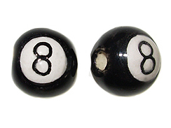 Ceramic 8 Ball Billiard Bead - Bulk Pack of 100pcs