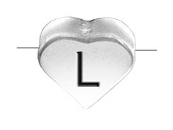 6.6x7.6mm Heart Shape Sterling Silver Letter L