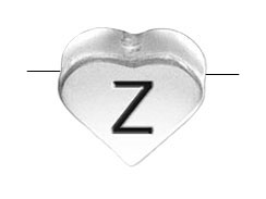 6.6x7.6mm Heart Shape Sterling Silver Letter Z