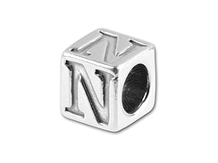 5.5mm Sterling Silver Greek Letter Bead - Nu