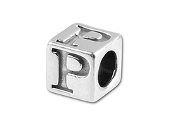 5.5mm Sterling Silver Alphabet Bead - P