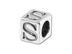 5.5mm Sterling Silver Alphabet Bead - S