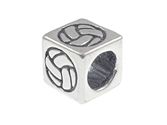 5.5mm Sterling Silver Symbol Bead - Volley Ball