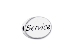 "SERVICE Sterling Silver Oval Message Bead <b><FONT COLOR=""FF0000"">CLEARANCE SALE</FONT>"