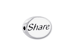 SHARE Sterling Silver Oval Message Bead