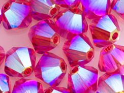 100 Indian Pink AB 2X - 4mm Swarovski Faceted Bicone Beads