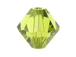 100 Light Olivine - 4mm Swarovski Faceted Bicone Beads