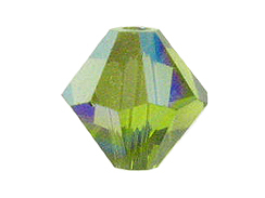 4mm Olivine AB - Swarovski Bicone Crystal Beads Factory Pack