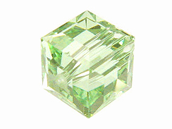 24 Chrysolite - 4mm Swarovski Faceted Cube Beads