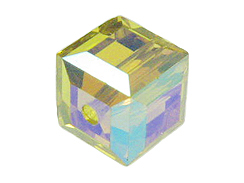 12 Lime AB - 6mm Swarovski Faceted Cube Beads
