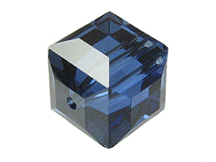 4 Sapphire Satin - 10mm Swarovski Faceted Cube Beads