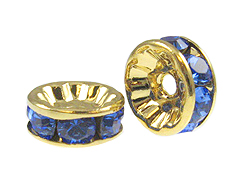 "Sapphire: 8mm Gold Plated Crystallizedâ""¢ Rondelles"