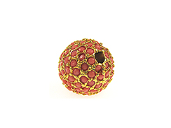 10mm Beadelle Gold-plated Coral Round Resort Pavé Bead