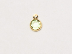 "Peridot - Swarovski Crystal <b><font color=""FFFF00"">Gold Plated</font></b> Birthstone Channel Charms, 6.6 x 4.6mm"