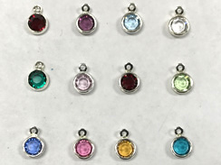 240pc Set of Swarovski <b>Silver Plated</b> Birthstone Channel Charms, 6.6 x 4.6mm