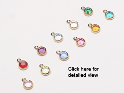 "12pc Set of Swarovski <font color=""FFFF00"">Gold Plated</font> Birthstone Channel Charms, 12 x 9mm"