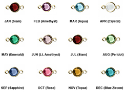 "12pc Set of Swarovski <font color=""FFFF00"">Gold Plated</font> Birthstone Channel Links, 15 x 9mm"