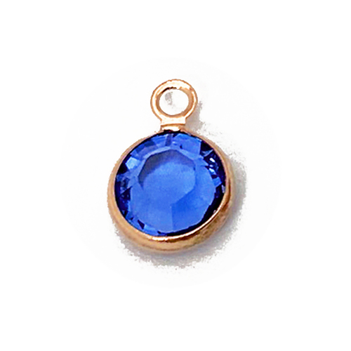 "Swarovski Crystal <font color=""B76E79"">Rose Gold Plated</font> Birthstone Channel Charms - Sapphire 250 pcs"