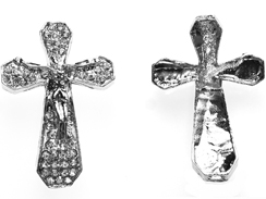 45mm Rhinestone Cross - Rhodium Color