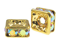 Crystal AB: 8mm Gold Plated Finish Squaredelle - Swarovski