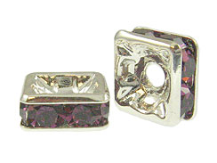 Amethyst: 6mm Sterling Silver Plated Finish Squaredelle - Swarovski