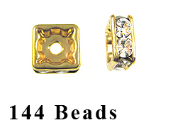 8mm Squaredelle Gold plated - Crystal