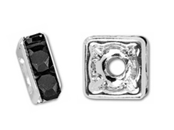 6mm Squaredelle Silver Plated - Jet